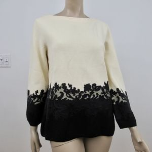 Tory Burch Sweater Ivory Black Dixie Sweater Lace